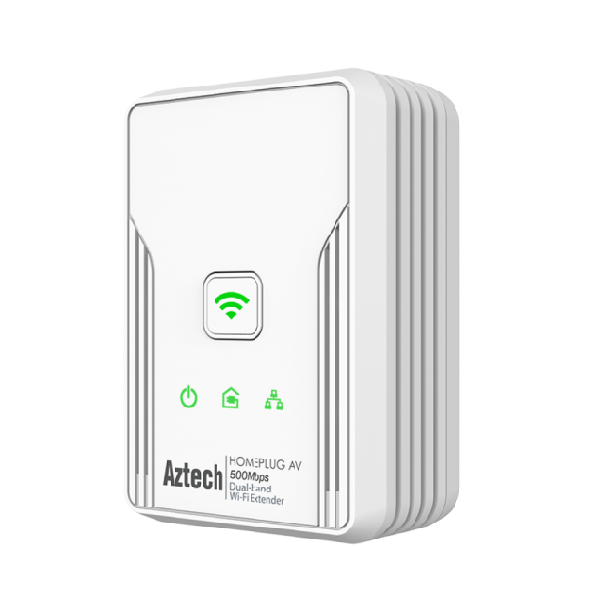 Aztech HomePlug AV 500Mbps Ethernet Adapter with 300Mbps Wireless N Dual-Band Extender