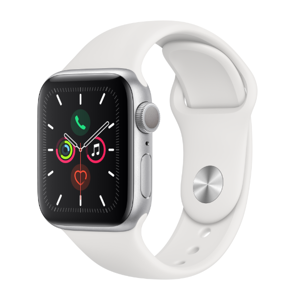 Apple Watch Series 5 40mm Silver Aluminum White Sport Band GPS