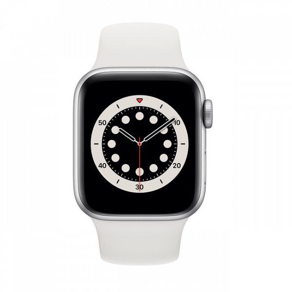 Apple Watch Series 6 GPS, 44mm Silver Aluminum Case with White Sport Band – Regular